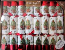 """8 ELEGANT 10"""" Red Foil Spode Tree Style Ivory Christmas Crackers Table Decor"""