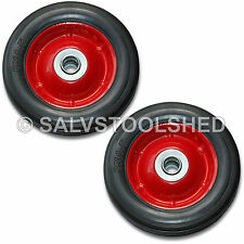 "2× 6"" Solid Rubber Wheel Jockey Trolley Wheels with 16mm Bore Puncture Proof"