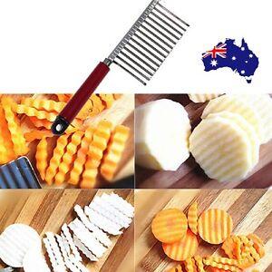 Potato Crinkle Cutter Dough Wavy Slicer Steel Kitchen Vegetable Chip Blade Knife