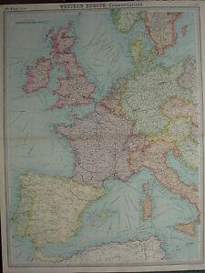 1920 LARGE MAP ~ WESTERN EUROPE COMMUNICATIONS BRITISH ISLES FRANCE SPAIN ITALY