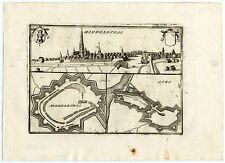 Rare Antique Print-MIDDELBURG-GOES-FORTIFICATION-VIEW-Coronelli-1706