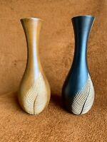 "Two Piece Vintage Solid Wood Vases Hand Carved Decorative Folk Art 15"" H"