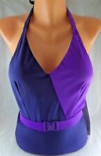 NWOT Esther Williams Splice of Life Blue Purple 1pc Halter Swimsuit Size 14