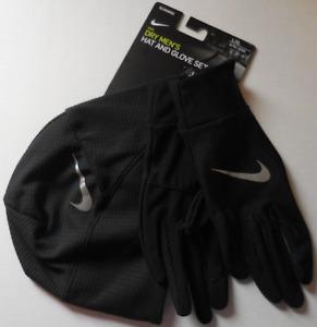 NIKE Men's Dry Essential Running Hat/Gloves Set Black/Black/Silver Size L/XL New