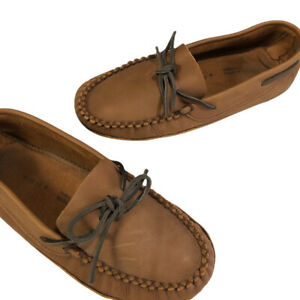 Canada Leather Moccasins Size 10 W Brown Padded Insole Leather Outsole Unlined