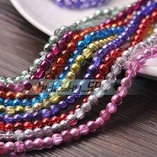 Shiny Half Silver Plated 4mm 6mm 8mm Round Crystal Glass Loose Spacer Beads