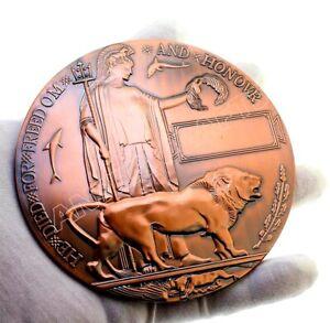 WW1 Bronze Memorial Death Plaque Dead Man's Penny British Military Medal Replica