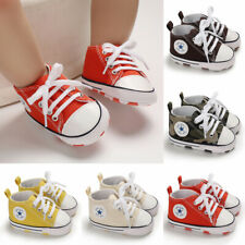 Newborn Baby Boys Girls Pre-Walker Soft Sole Pram Shoes Canvas Sneakers Trainers