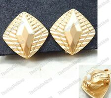 CLIP ON EARRINGS art deco MATT GOLD TONE revival vintage style retro square