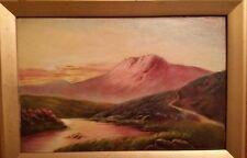 Old, vintage antique, pastel, landscape print.