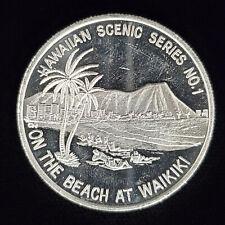 1987 Aloha From Hawaii 999 Fine Silver Round Hawaii Scenic Series #1 Waikiki