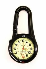 Black Clip on Carabiner FOB Watch Luminous Face Ideal for Doctors Nurses Chefs