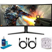 "LG 34"" UW QHD Curved LED FreeSync Gaming Monitor 2018 Model + Cleaning Bundle"