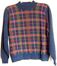 PRINGLE Scotland Men's 100% Wool Navy Blue Plaid Turtleneck Sweater 102cm 40 M
