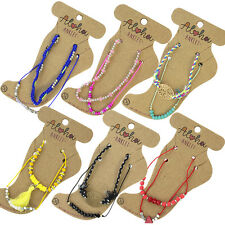 Ladies Crystal Bead Beach Cord Ankle Bracelet Adjustable Anklet Foot Jewellery