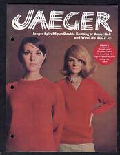 c1960s Knitting Pattern: Jaeger 4007: Camelhair/ Wool Ladies Sweaters