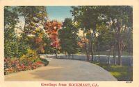 Rockmart Georgia~Curvy Drive Through Trees Greetings~1940s Linen Postcard