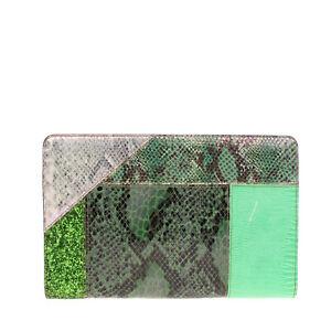 RRP €280 STELLA MCCARTNEY Eco Leather Wristlet Clutch Bag Snakeskin Pattern