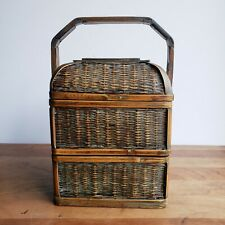 Vintage Chinese wedding basket 2-tier square with carved handle rattan and wood
