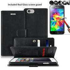 Dual Card Slot Cash Flip Wallet Leather Book Case for iPhone /Galaxy/LG + Glass