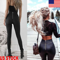 Fashion Women's Leather Skinny Stretch Slim Fit High Waist Trousers Pencil Pants