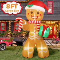 8FT Inflatable Christmas Santa Claus Gingerbread Man Decoration Outdoor Xmas