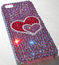 2 HEARTS Crystal Rhinestone Back Case for iPhone 5 5S made w/ Swarovski Elements