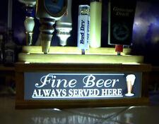 Tap Handle holder w/ lighted Bar Sign fine beer served here holds 7