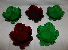 5 Fire King Maple Leaf Candy Trinket Snack Dishes Forest Green Ruby Red-Pretty!