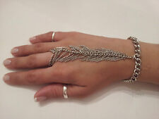 Trending Unique Silver Plated Tassel Slave Chain Bracelet Slave Chain Ring