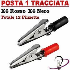 12 PINZE A COCCODRILLO ROSSA + NERA cavi morsetti alligator clip batteria test