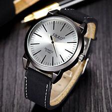 Men's Luxury Silver Faced Sports Analog Quartz Black Leather Band Wrist Watch.