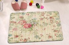 """Kitchen Bathroom Retro Flowers & Stripe Floor Non-Slip Bath Door Mat Rug 24x16"""""""