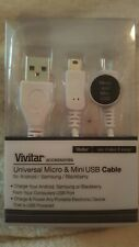 Vivitar Universal Micro &mini USB Cable For Android Samsung And BlackBerry