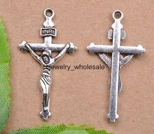 10pcs Tibetan Silver Charm Cross Pendants 38X20mm Jewelry Making JW2