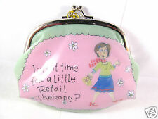 Retail Therapy High Gloss Snap Coin Purse Cosmetic Bag Silver Snap Kiss Closure