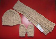 VERTBAUDET Ragazze beige cappello, sciarpa e muffole-Taglia 48cm-USATO