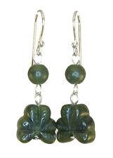 Irish Shamrock Earrings Silver fishook Connemara Marble Green JW1060A