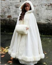 New Long Bridal Cloak Faux fur Shawl White/ivory Cape Winter Hooded Wedding Coat