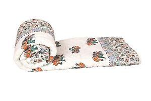 Jaipuri Hand Block Elephants Printed Winter Cotton Double Bed Quilt Razai - King