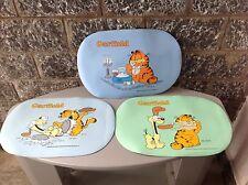 Vintage#80S 3X Tovagliette Plastica Vinyl Vinile Garfield Rare # Anni 80