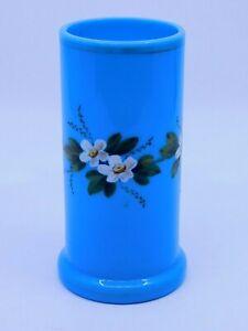 Victorian Blue Opaline Glass Vase / Hand Enameled Flowers