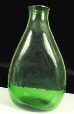 ANTIQUE HAND BLOWN GREEN GLASS BOTTLE PONTIL BUBBLES LARGE WHISKEY WINE FLASK !