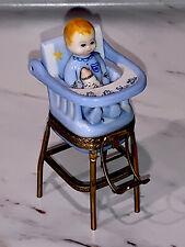 Limoges Peint Main High Chair with Baby Trinket Box Original Box