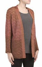 M Missoni Women's Sweater Medium 44 Rust Metallic Lurex Ombre Knit Open Cardigan