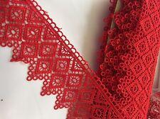 Merletto Macrame In Pizzo Rosso In Altezza  8cm ,;