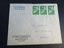 Nederland 508 strip van 3 op brief verzonden binnen Amsterdam 1949