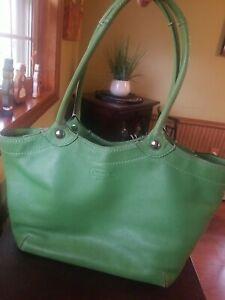COACH Green Leather BLEEKER LEGACY Shopper Tote Purse Shoulder Bag F14383