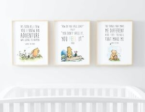 Winnie the Pooh Quote Print Set Nursery Picture Wall Art Child Gift UNFRAMED