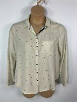 WOMENS ZARA SIZE LARGE CREAM BLACK DOT LONG SLEEVE CREW NECK CASUAL BLOUSE SHIRT